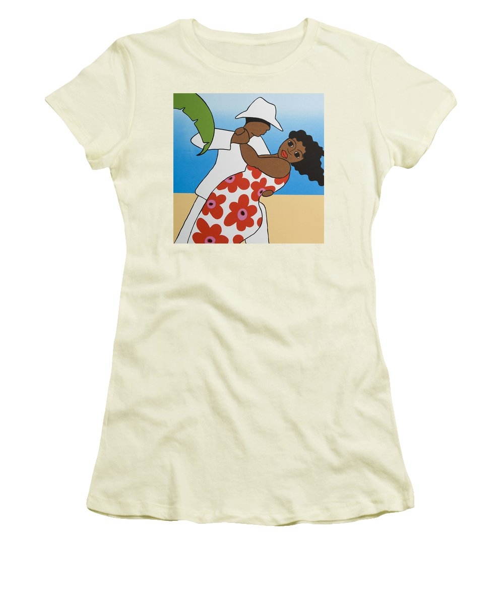 Dancing Women's T-Shirt (Athletic Fit) featuring the mixed media Beach Party by Trudie Canwood