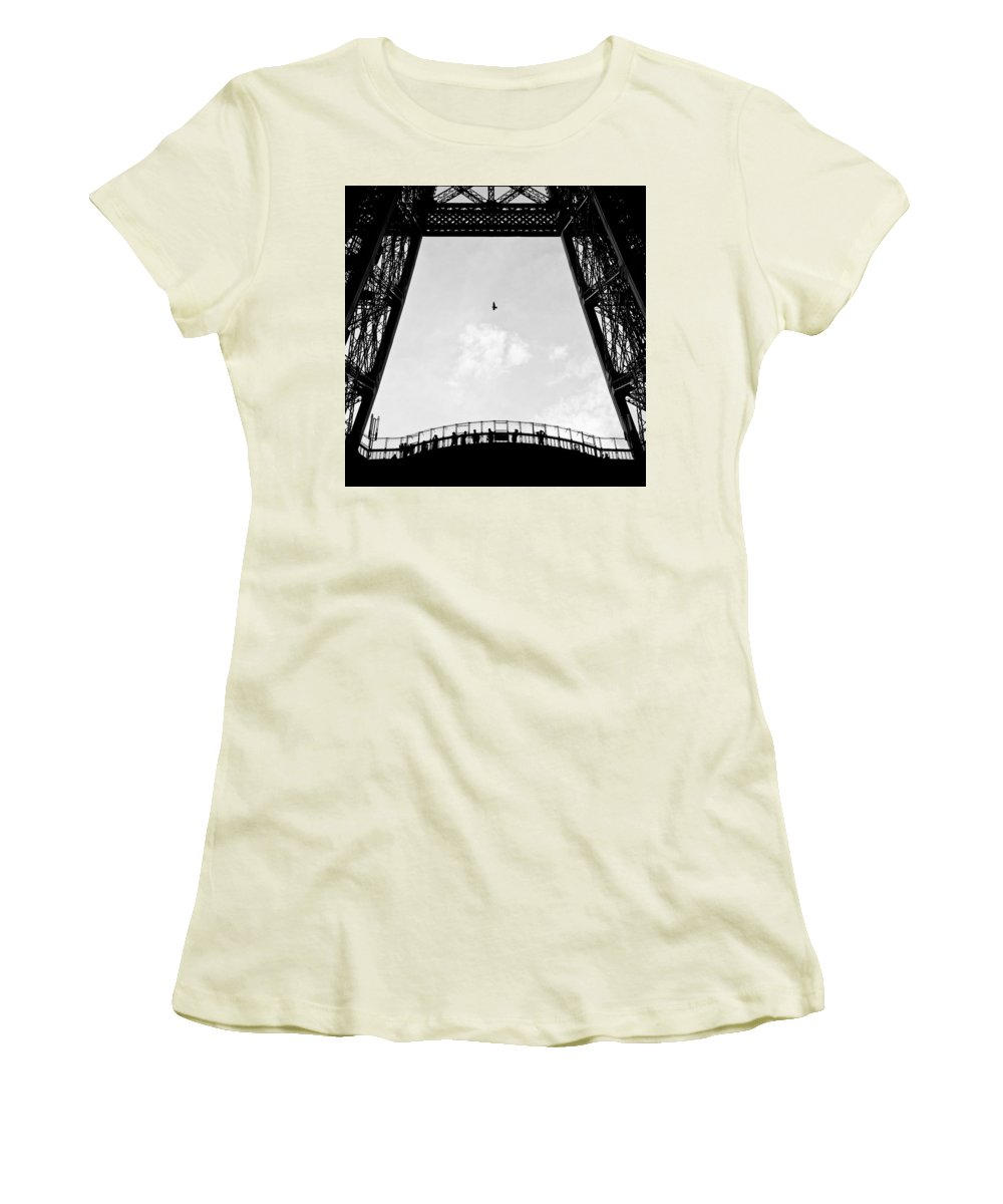 Eiffel Tower Women's T-Shirt (Athletic Fit) featuring the photograph Birds-eye View by Dave Bowman