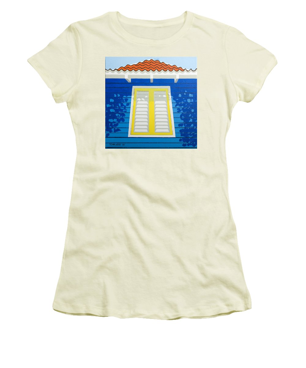 Caribbean House Architecture Sun Painting Blue Curacao Aruba Antilles Women's T-Shirt (Athletic Fit) featuring the painting Blue House by Trudie Canwood