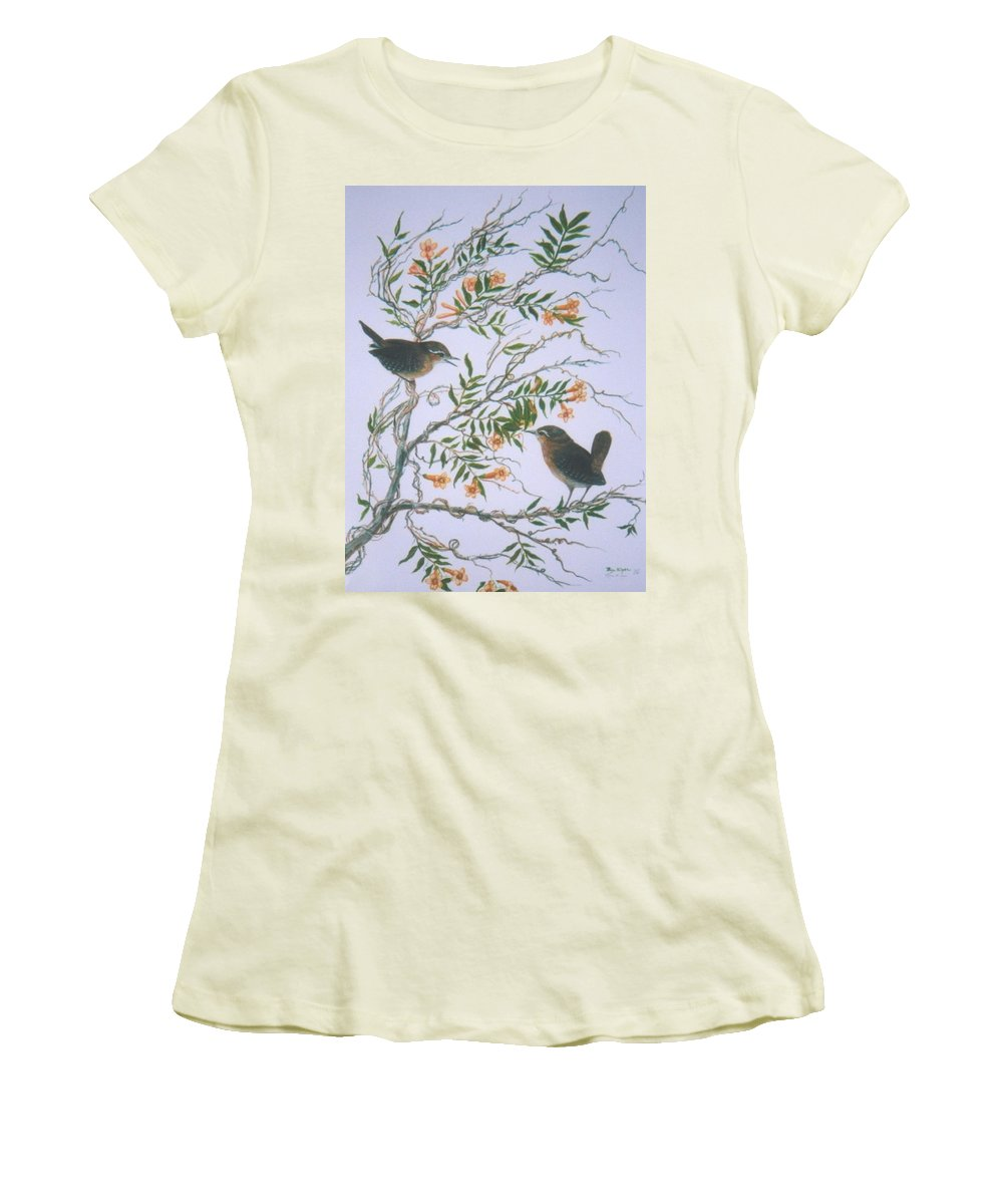 Bird; Flowers Women's T-Shirt (Athletic Fit) featuring the painting Carolina Wren And Jasmine by Ben Kiger