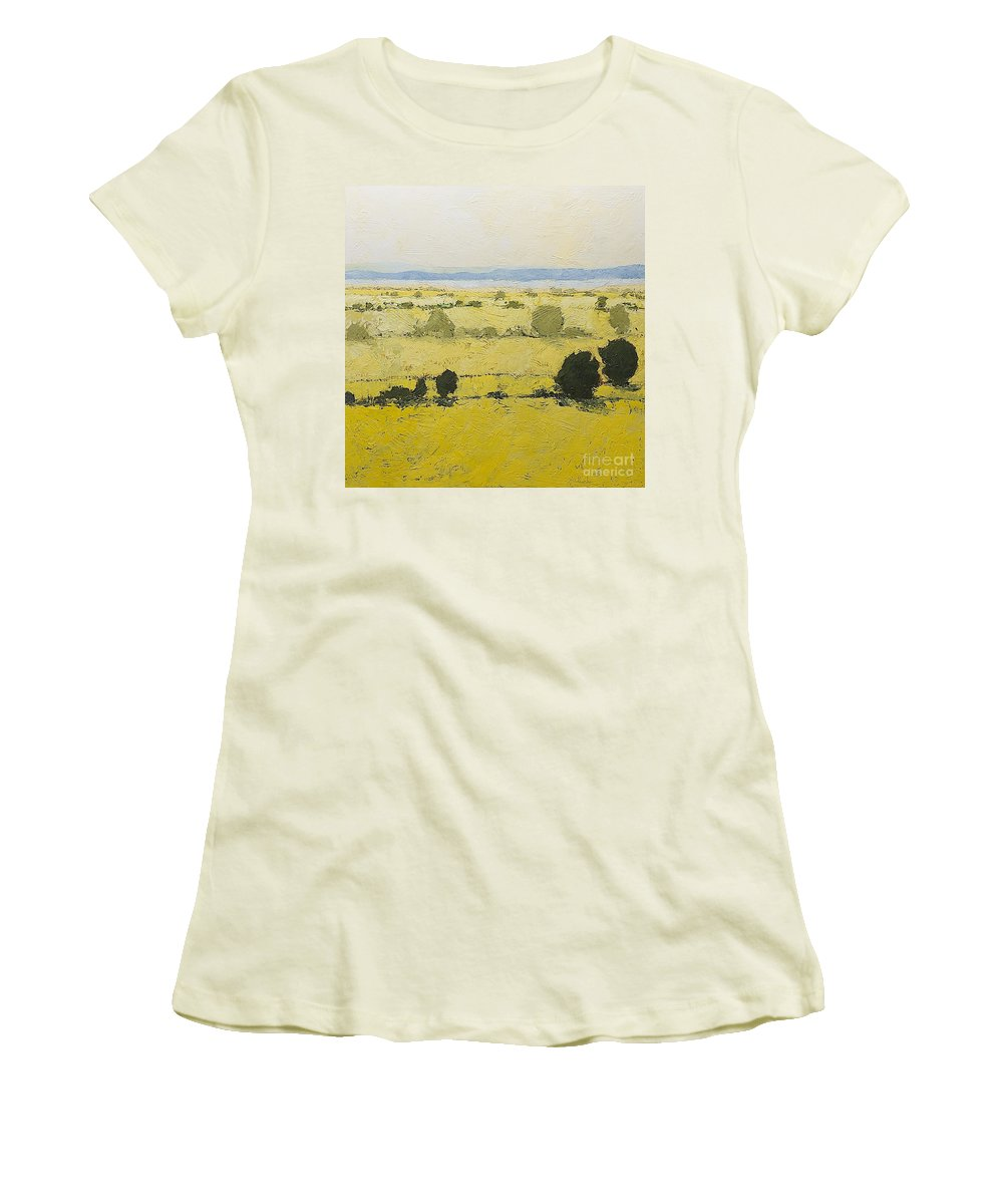 Landscape Women's T-Shirt (Athletic Fit) featuring the painting Dry Grass by Allan P Friedlander