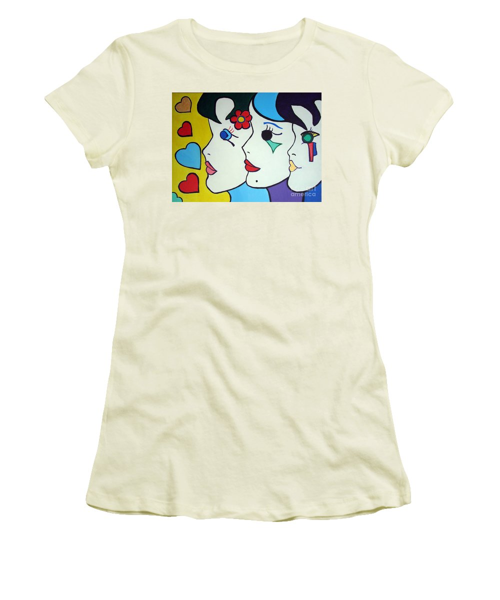 Pop Art Women's T-Shirt (Athletic Fit) featuring the painting Falling In Love by Silvana Abel