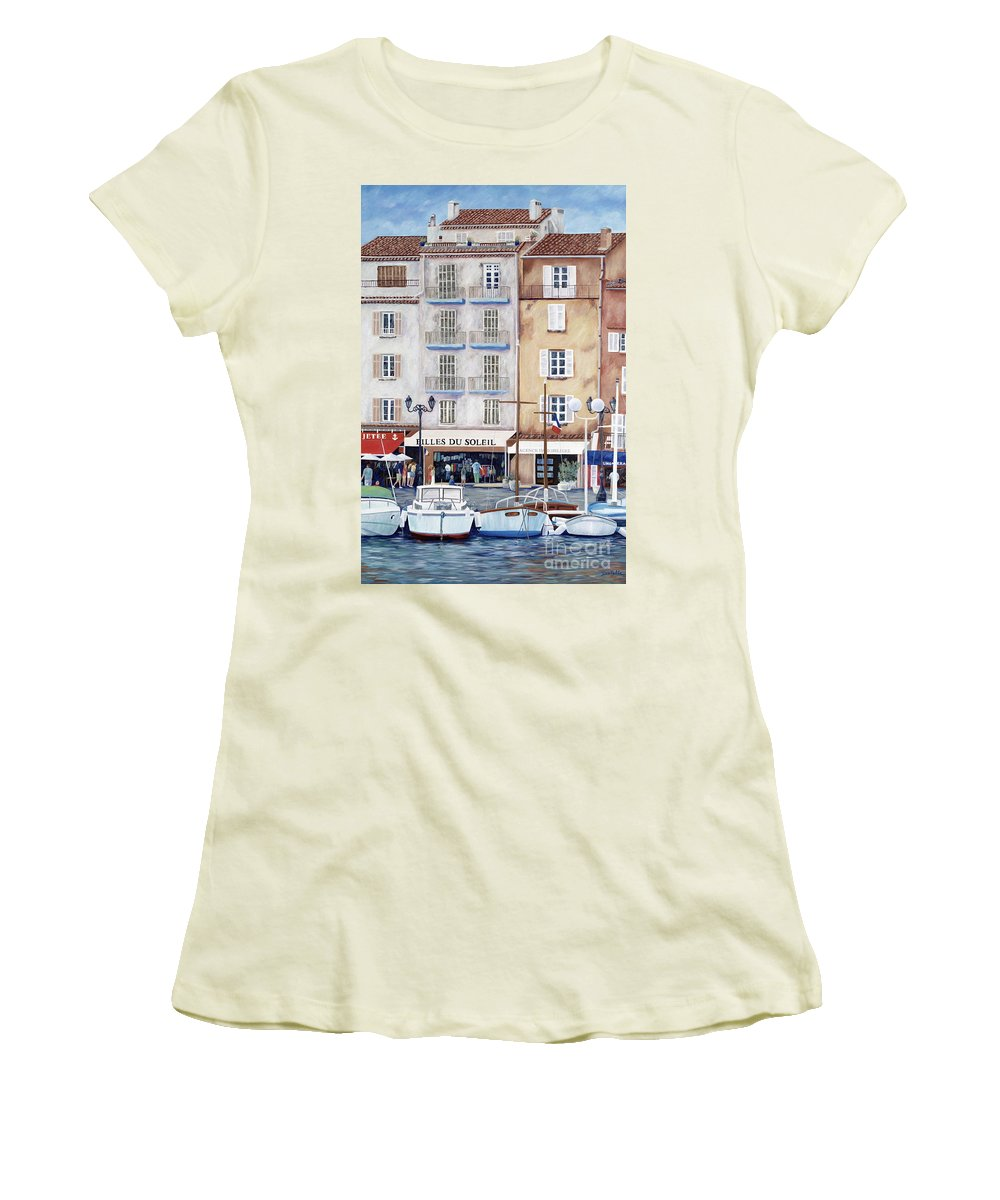 St. Tropez Women's T-Shirt (Athletic Fit) featuring the painting Filles Du Soleil by Danielle Perry