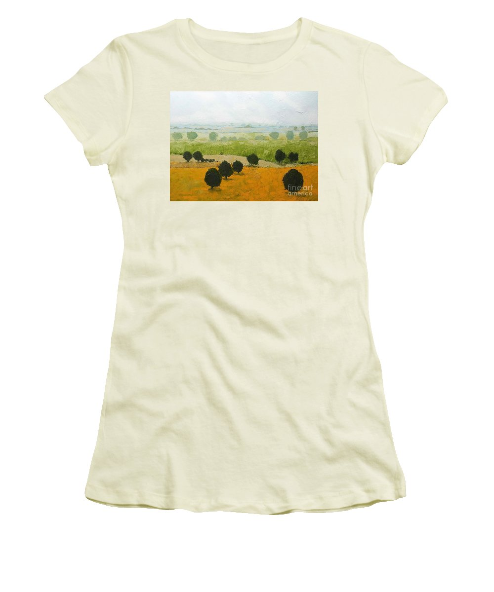 Landscape Women's T-Shirt (Athletic Fit) featuring the painting Fog Lifting Fast by Allan P Friedlander