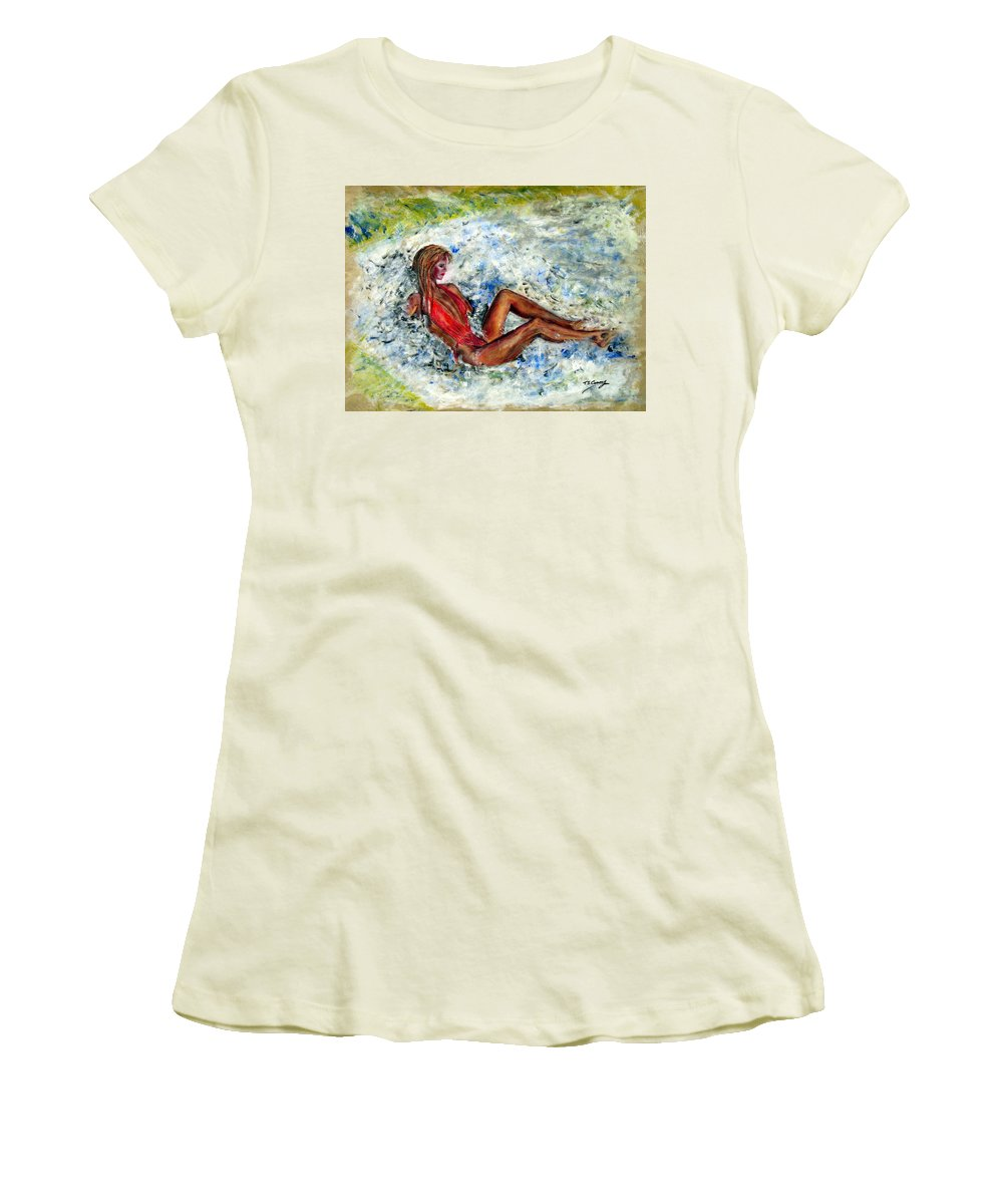 Girl Women's T-Shirt (Athletic Fit) featuring the painting Girl In A Red Swimsuit by Tom Conway