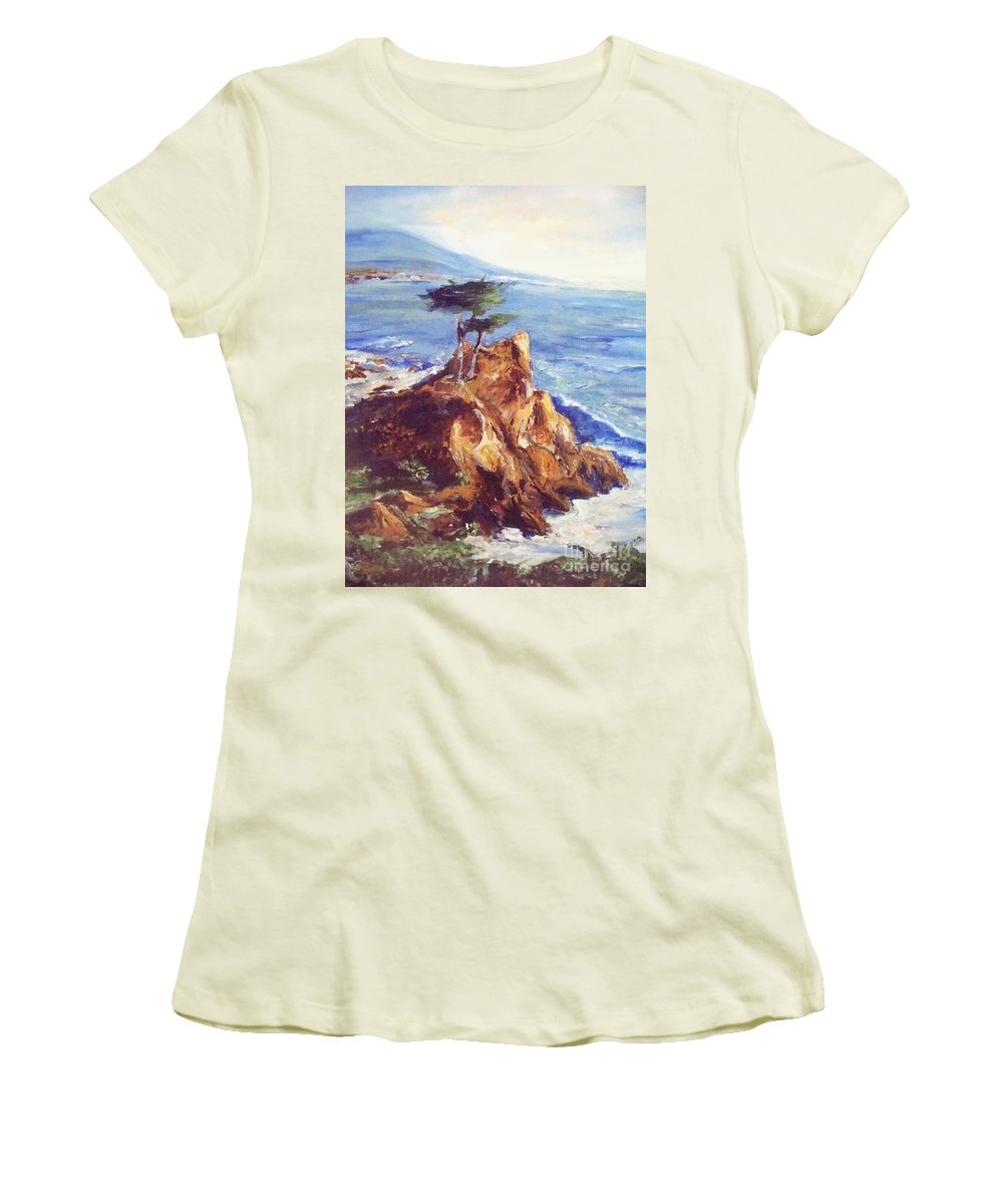 Seascape Women's T-Shirt (Athletic Fit) featuring the painting Imaginary Cypress by Eric Schiabor