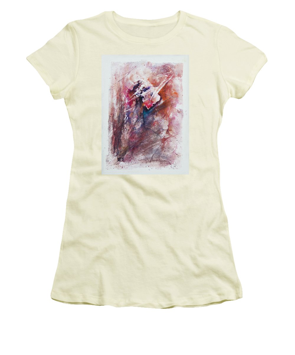 Abstract Women's T-Shirt (Athletic Fit) featuring the painting Inner Conflict by Rachel Christine Nowicki