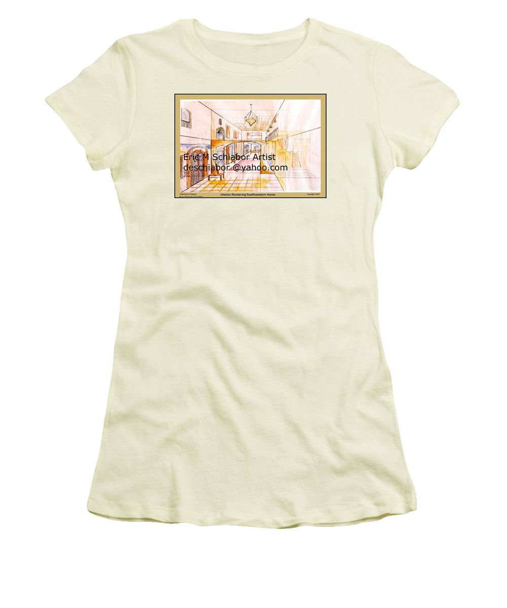 Interior Women's T-Shirt (Athletic Fit) featuring the painting Interior Perspective by Eric Schiabor