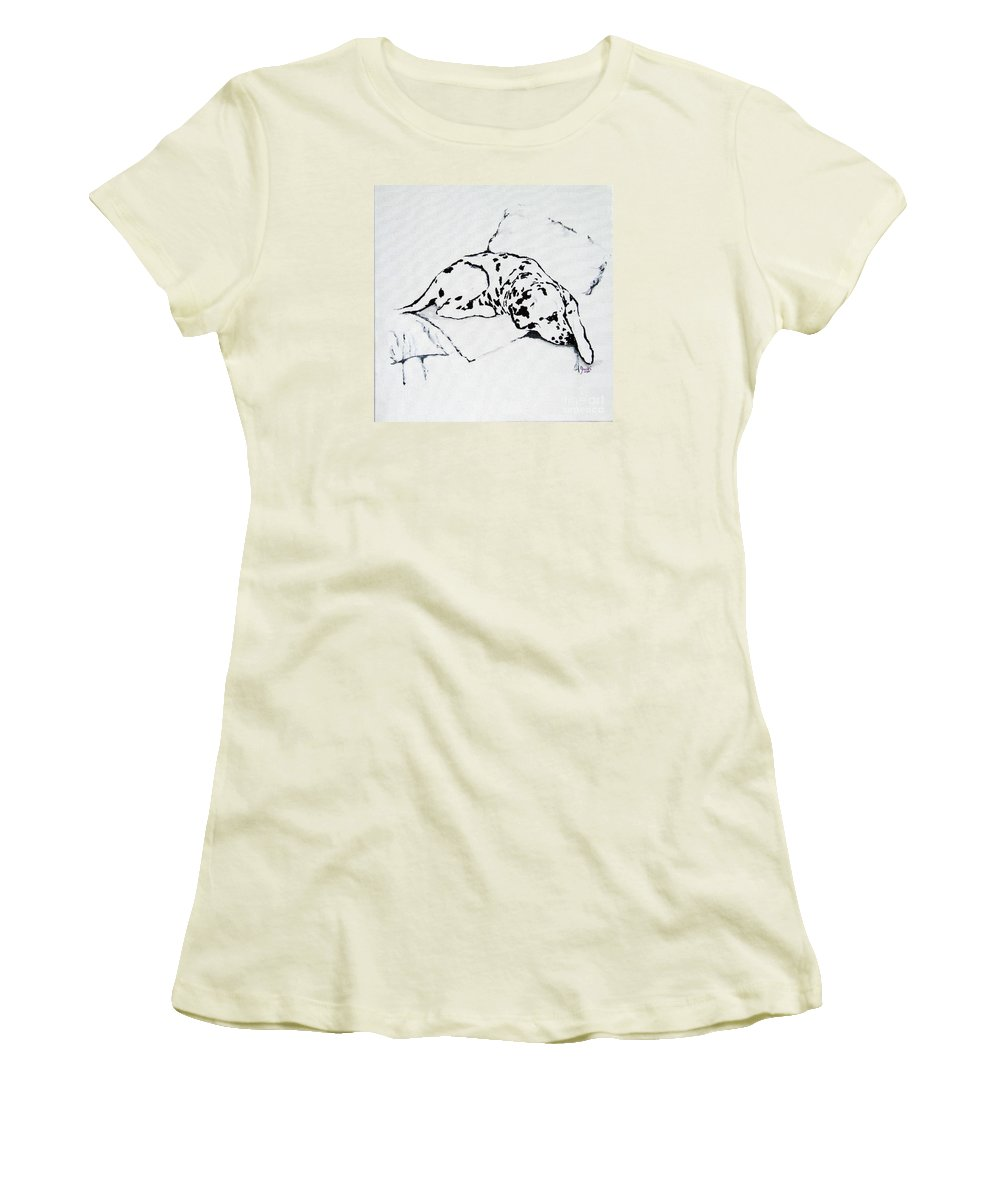 Dogs Women's T-Shirt (Athletic Fit) featuring the painting Lazy Day by Jacki McGovern