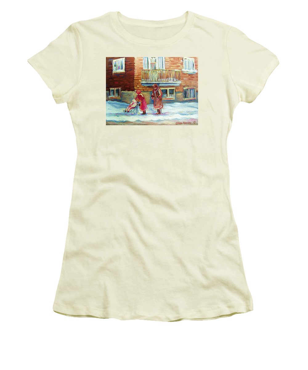 Montreal Women's T-Shirt (Athletic Fit) featuring the painting Montreal Winter Scenes by Carole Spandau