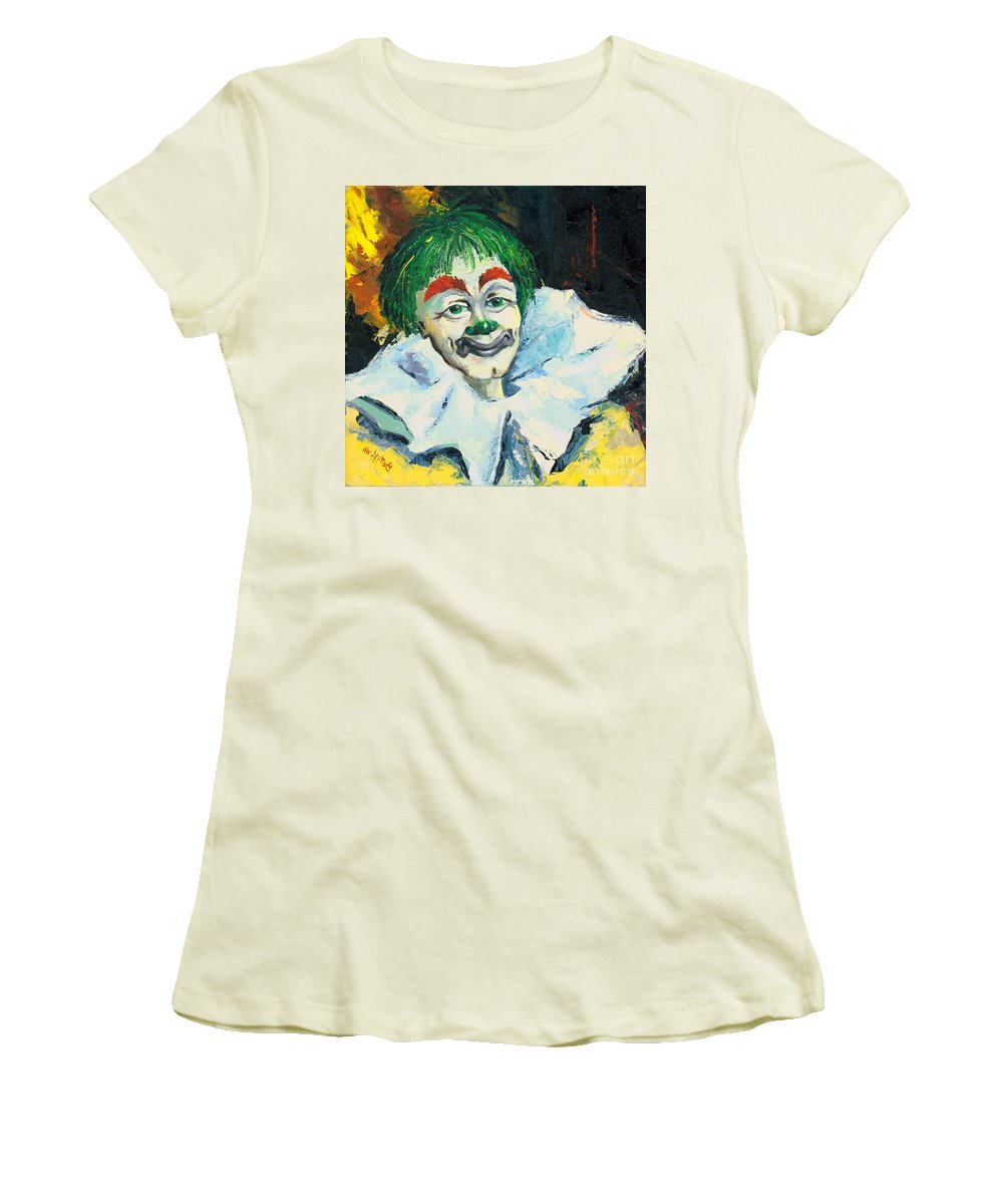 Canvas Prints Women's T-Shirt (Athletic Fit) featuring the painting My Friend by Elisabeta Hermann