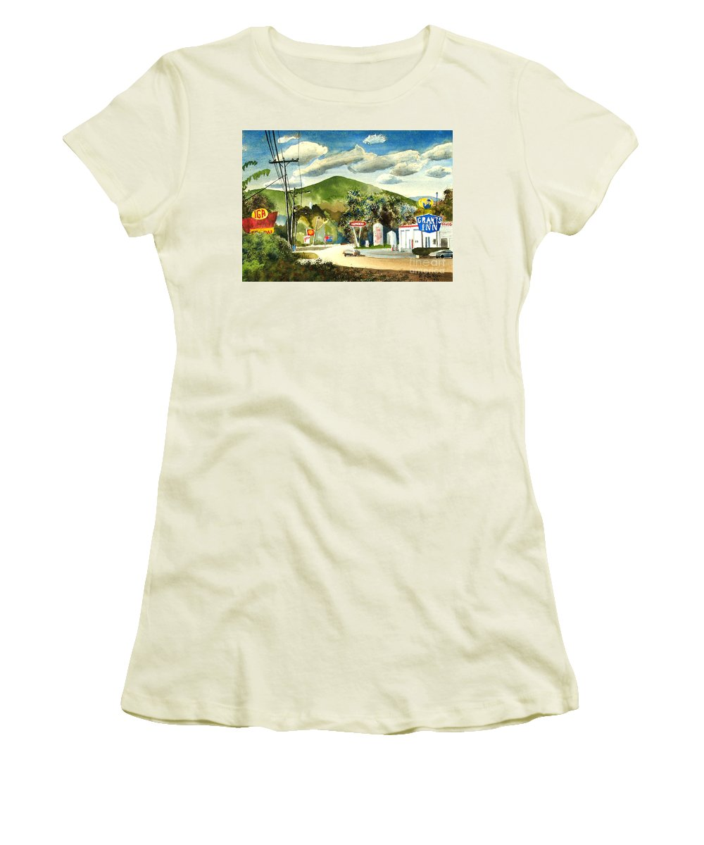 Nostalgia Arcadia Valley 1985 Women's T-Shirt (Athletic Fit) featuring the painting Nostalgia Arcadia Valley 1985 by Kip DeVore
