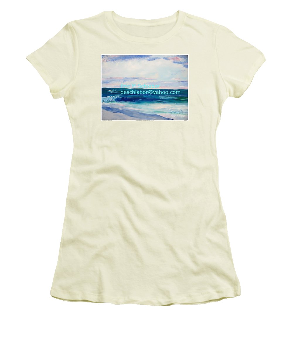 Floral Women's T-Shirt (Athletic Fit) featuring the painting Ocean Assateague Virginia by Eric Schiabor