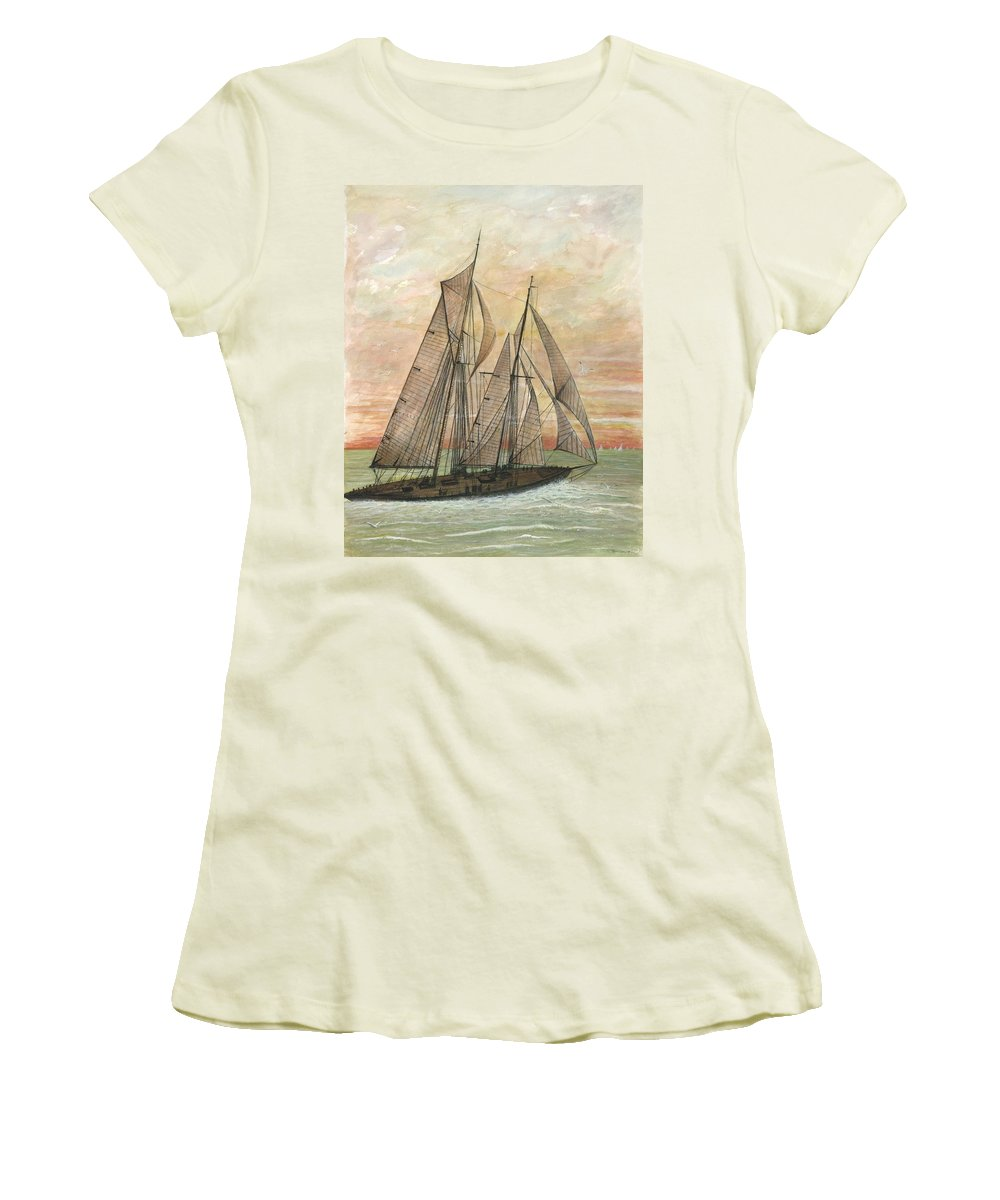 Sailboat; Ocean; Sunset Women's T-Shirt (Athletic Fit) featuring the painting Out To Sea by Ben Kiger