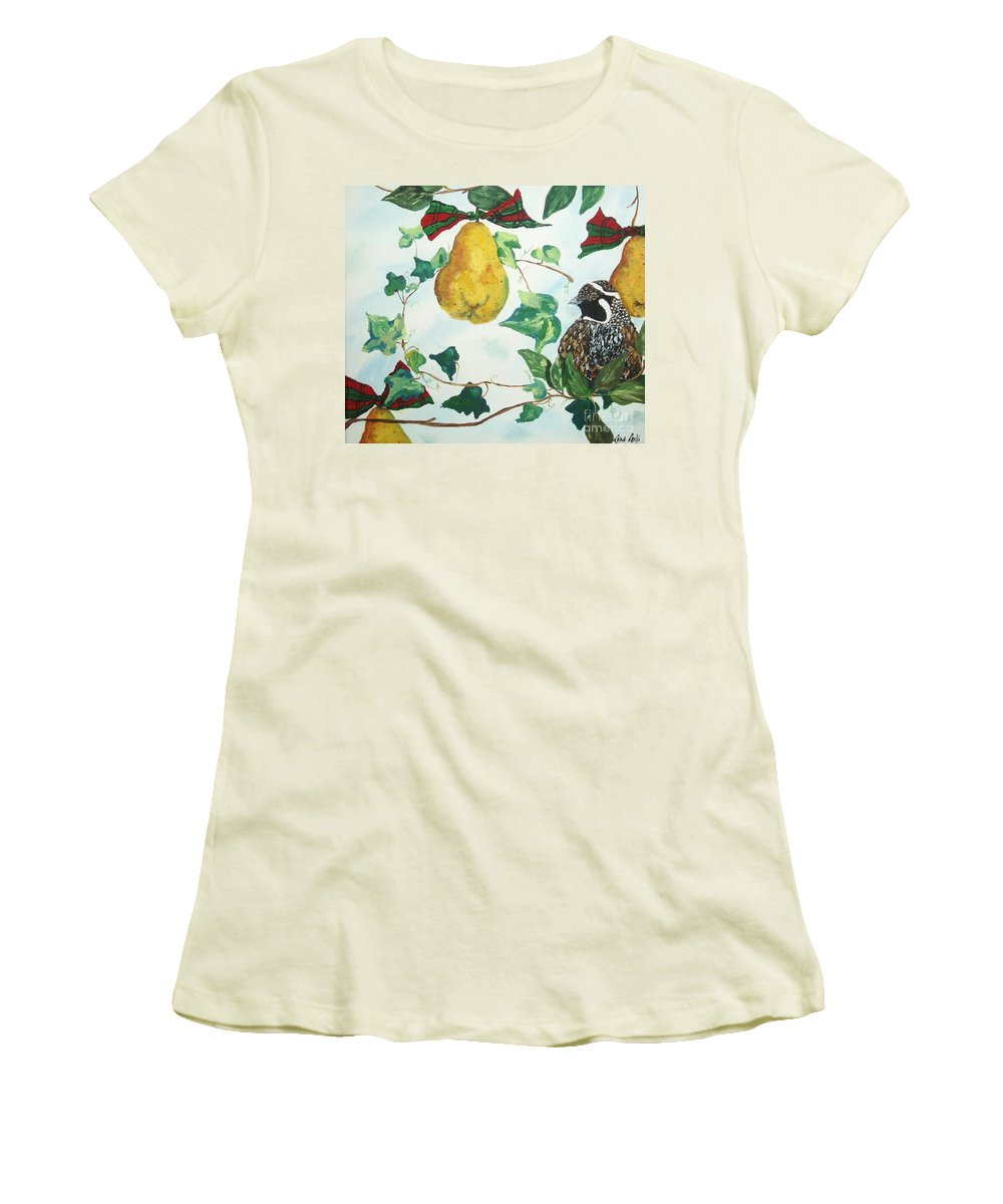 Tree Women's T-Shirt (Athletic Fit) featuring the painting Partridge And Pears by Reina Resto
