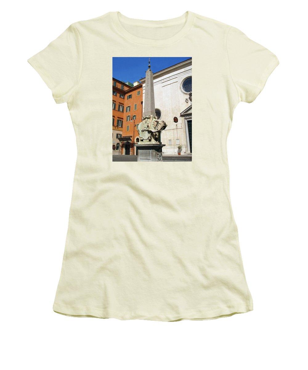 Pulcino Della Minerva Women's T-Shirt (Athletic Fit) featuring the photograph Pulcino Della Minerva by Ellen Henneke