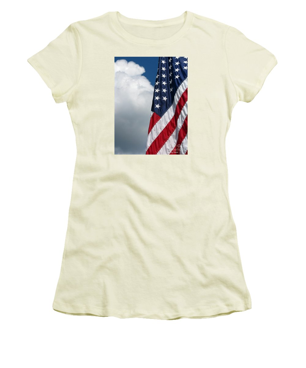 Art For The Wall...patzer Photography Women's T-Shirt (Athletic Fit) featuring the photograph September Flag by Greg Patzer