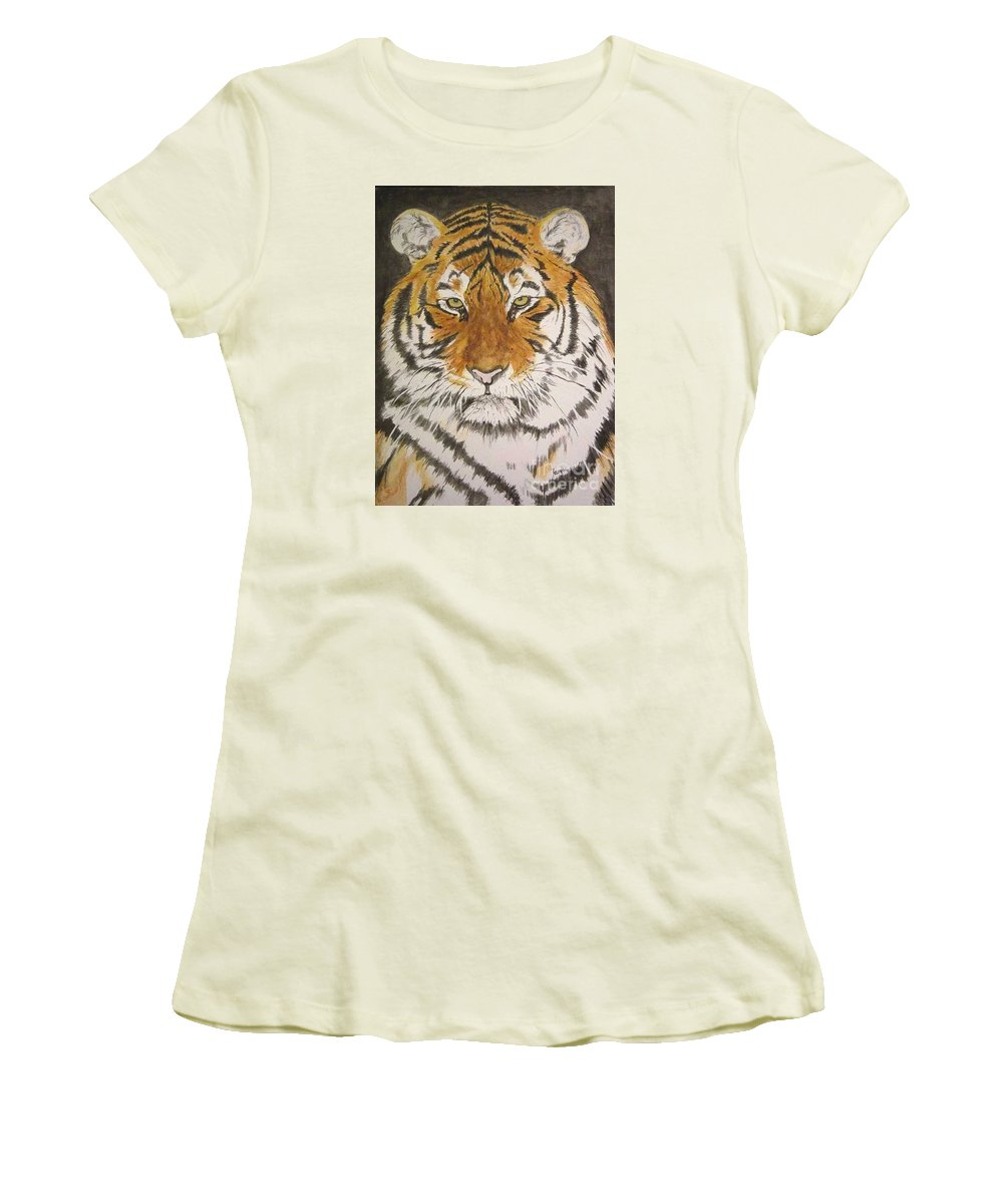 Siberian Tiger Women's T-Shirt (Athletic Fit) featuring the painting Siberian Tiger by Regan J Smith
