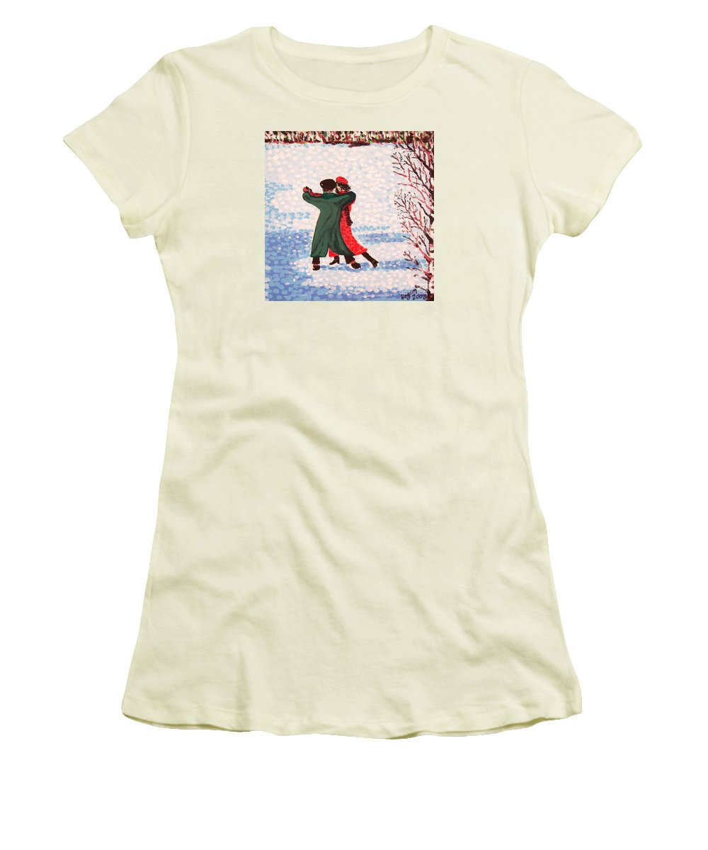 Snow Women's T-Shirt (Athletic Fit) featuring the painting Snow Tango by Alan Hogan