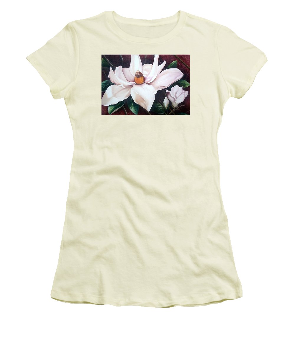 Magnolia Southern Bloom Floral Botanical White Women's T-Shirt (Athletic Fit) featuring the painting Southern Beauty by Karin Dawn Kelshall- Best