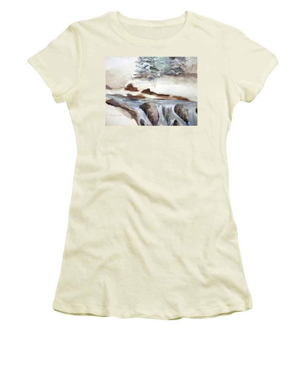 Rick Huotari Women's T-Shirt (Athletic Fit) featuring the painting Springtime by Rick Huotari