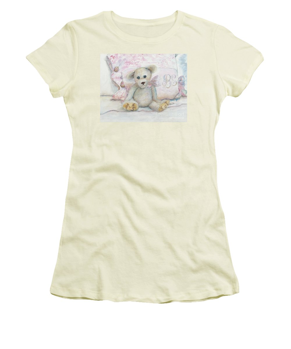 Teddy Bear Women's T-Shirt (Athletic Fit) featuring the painting Teddy Friend by Nadine Rippelmeyer
