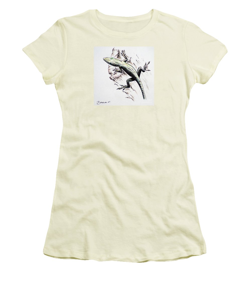 Ink Sketch Women's T-Shirt (Athletic Fit) featuring the drawing The Green Lizard by Katharina Filus
