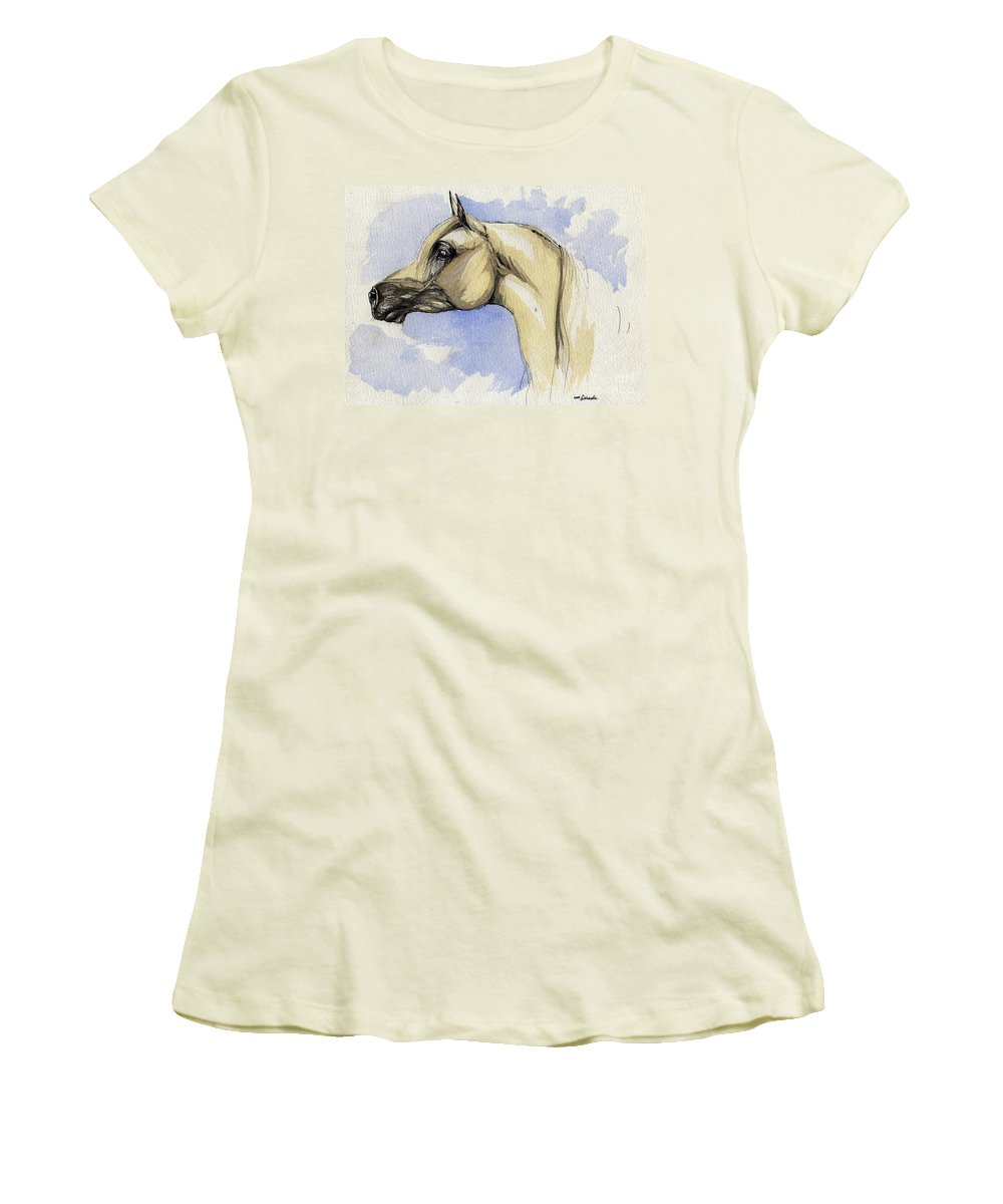 Arabian Women's T-Shirt (Athletic Fit) featuring the painting The Grey Arabian Horse 12 by Angel Ciesniarska