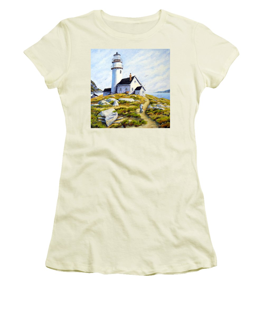 Fishing Boats; Fishermen; Bot Women's T-Shirt (Athletic Fit) featuring the painting The Lighthouse Keeper by Richard T Pranke