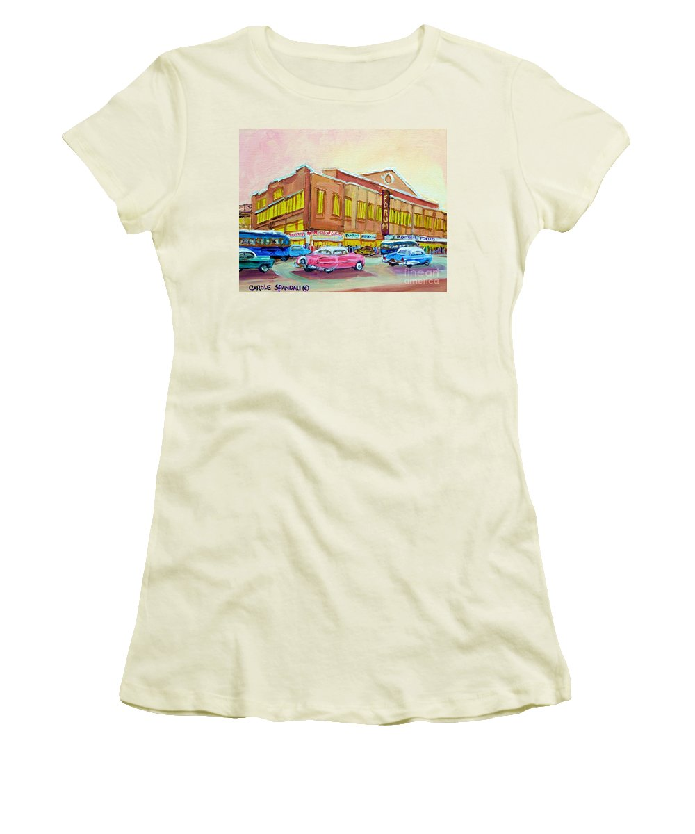 Montreal Women's T-Shirt (Athletic Fit) featuring the painting The Montreal Forum by Carole Spandau