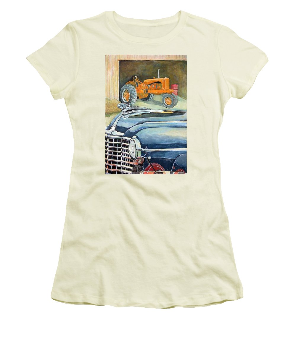 Rick Huotari Women's T-Shirt (Athletic Fit) featuring the painting The Old Farm by Rick Huotari