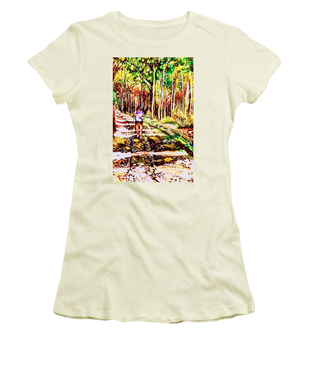 The Road Not Taken Robert Frost Poem Women's T-Shirt (Athletic Fit) featuring the painting The Road Not Taken by Carole Spandau