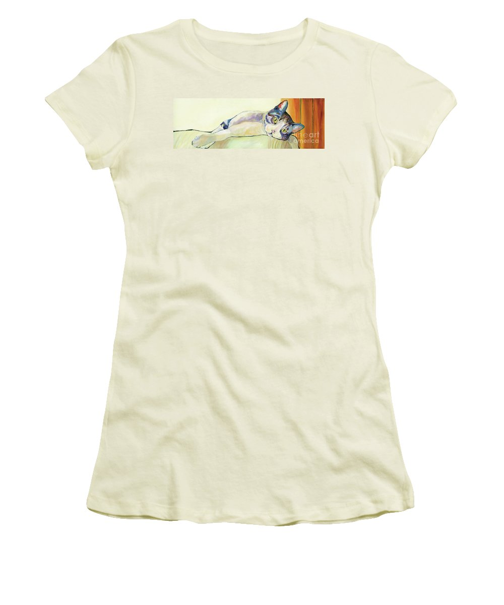 Pat Saunders-white Canvas Prints Women's T-Shirt (Athletic Fit) featuring the painting The Sunbather by Pat Saunders-White