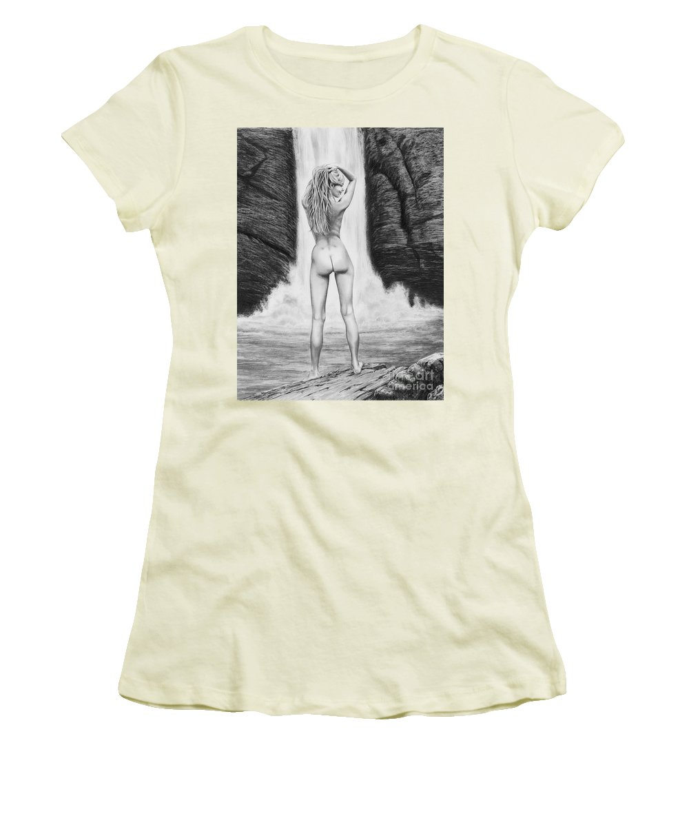 Waterfall Women's T-Shirt (Athletic Fit) featuring the drawing Waterfall Pin Up Girl by Murphy Elliott