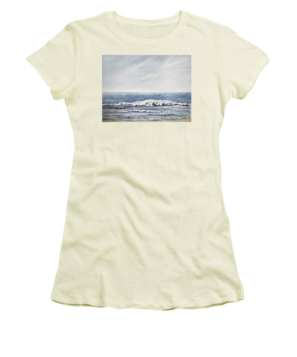Seascape Women's T-Shirt (Athletic Fit) featuring the painting Where I Want To Be by Todd A Blanchard