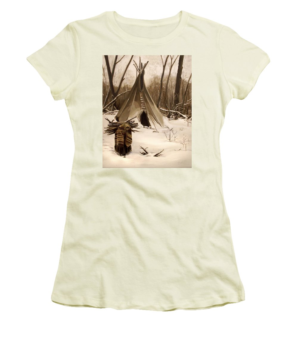 Native American Women's T-Shirt (Athletic Fit) featuring the painting Wood Gatherer by Nancy Griswold