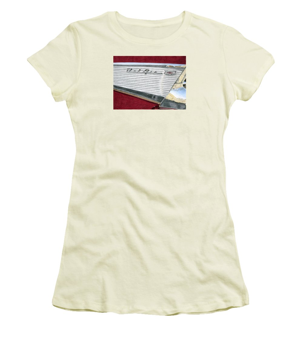 Classic Women's T-Shirt (Athletic Fit) featuring the drawing 1957 Chevrolet Bel Air Convertible by Rob De Vries