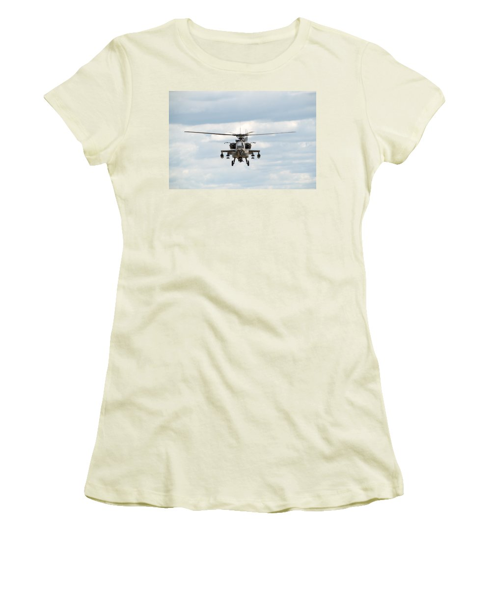 Helicopter Women's T-Shirt (Athletic Fit) featuring the photograph Ah-64 Apache by Sebastian Musial
