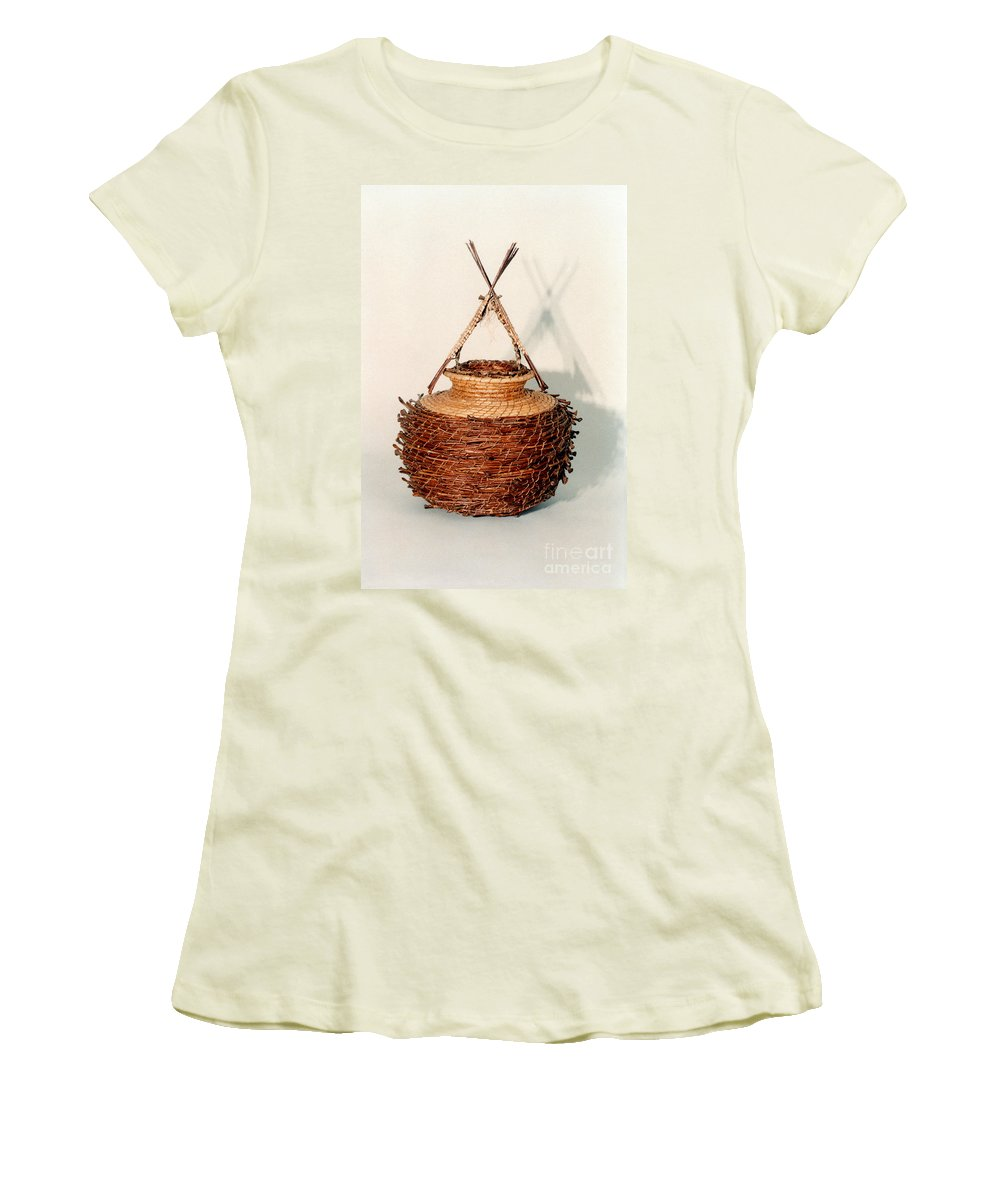 Fibre Women's T-Shirt (Athletic Fit) featuring the mixed media Bound And Unified In Contrast by Kerryn Madsen-Pietsch