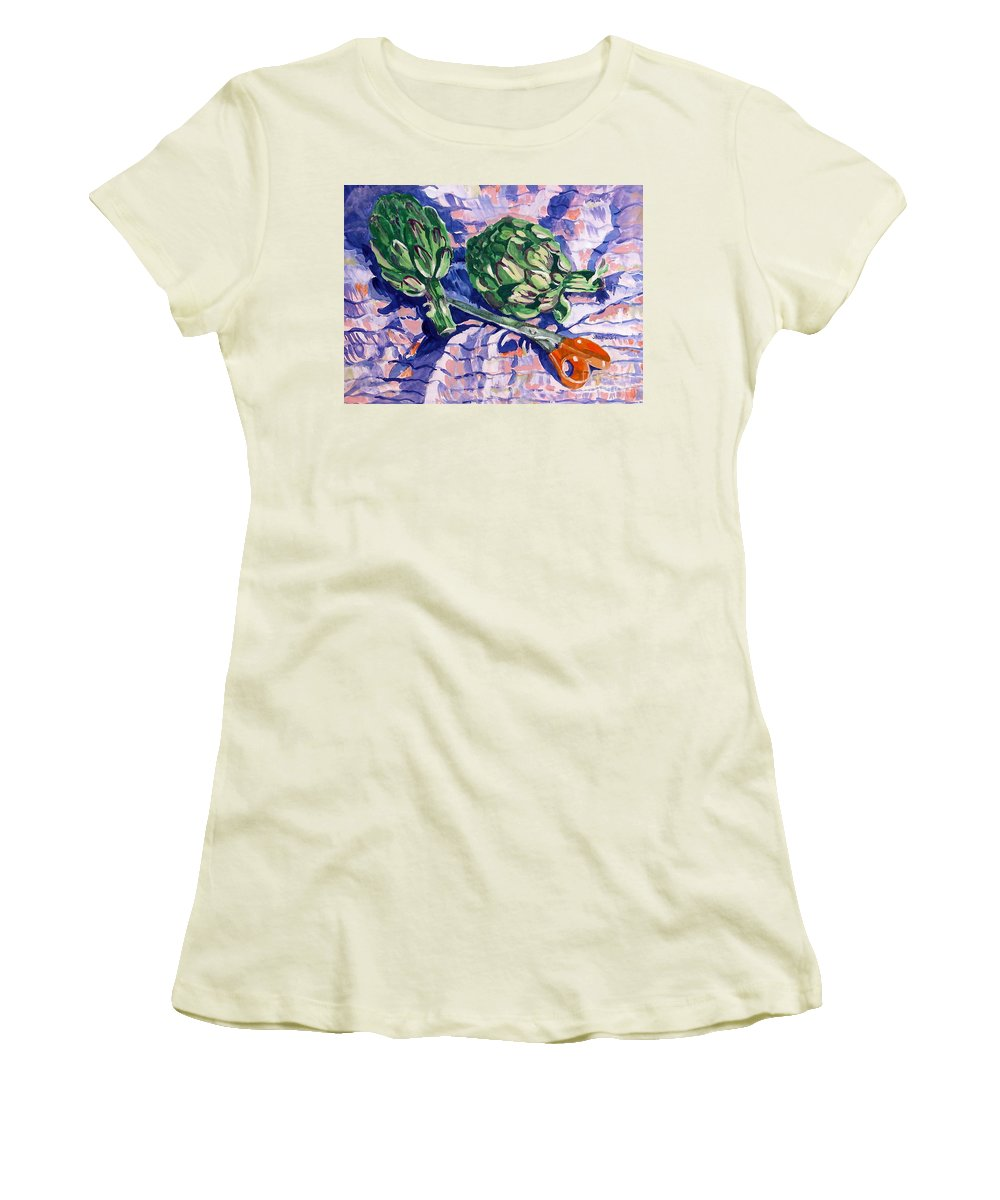 Greens Women's T-Shirt (Athletic Fit) featuring the painting Edible Flowers by Jan Bennicoff