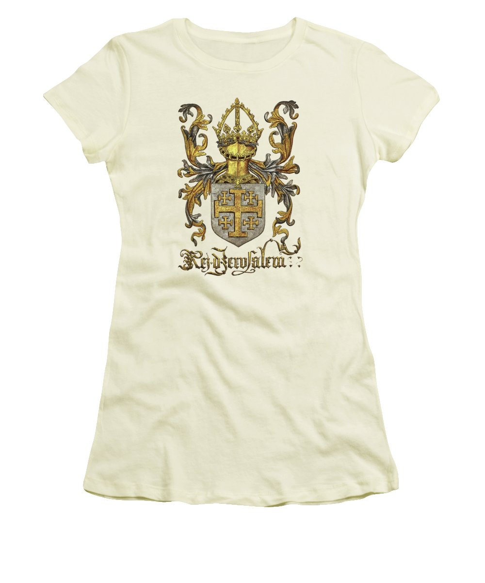 'roll Of Arms� Collection By Serge Averbukh Women's T-Shirt (Athletic Fit) featuring the photograph Kingdom Of Jerusalem Coat Of Arms - Livro Do Armeiro-mor by Serge Averbukh