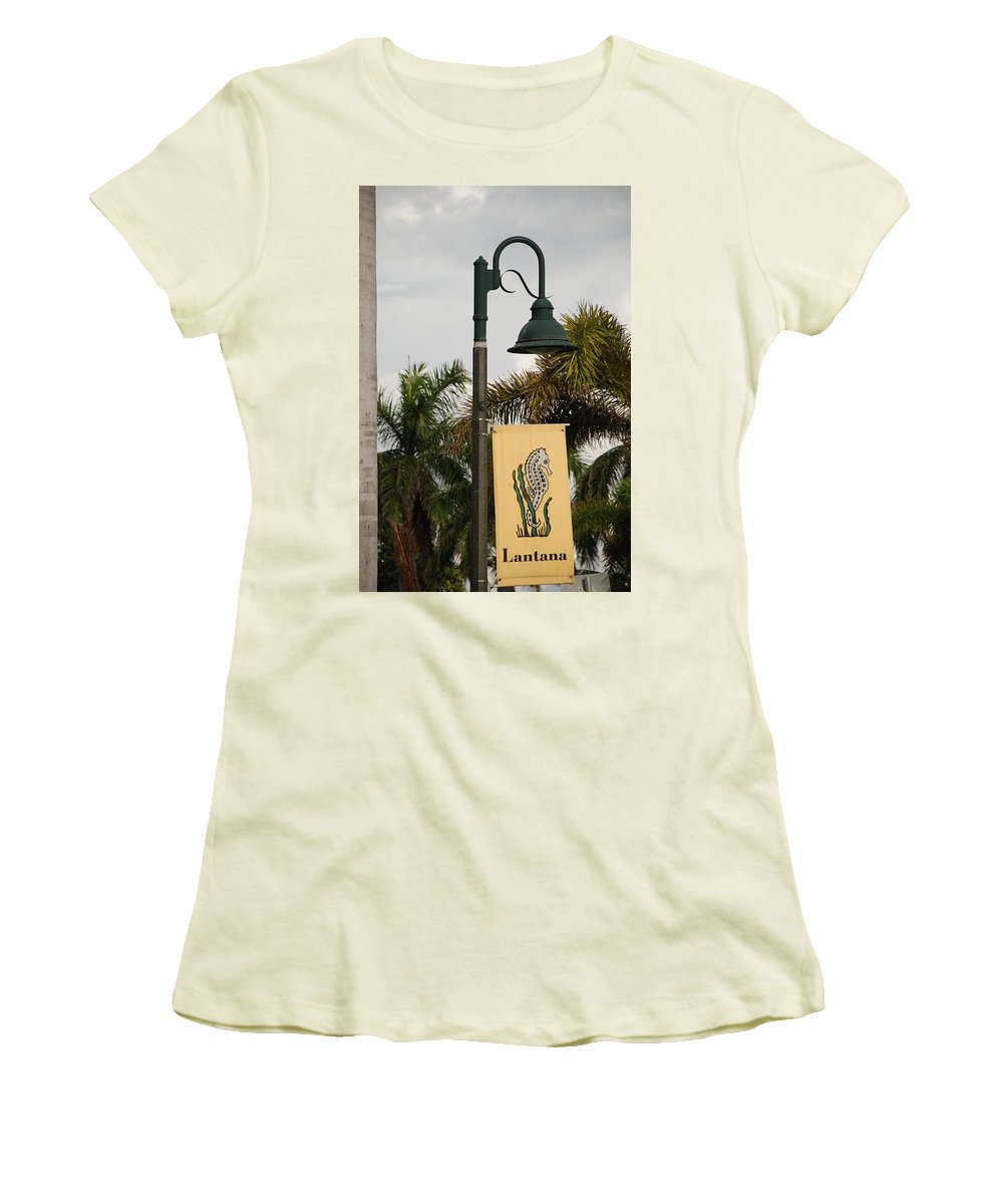 Sea Horse Women's T-Shirt (Athletic Fit) featuring the photograph Lantana Lamp Post by Rob Hans