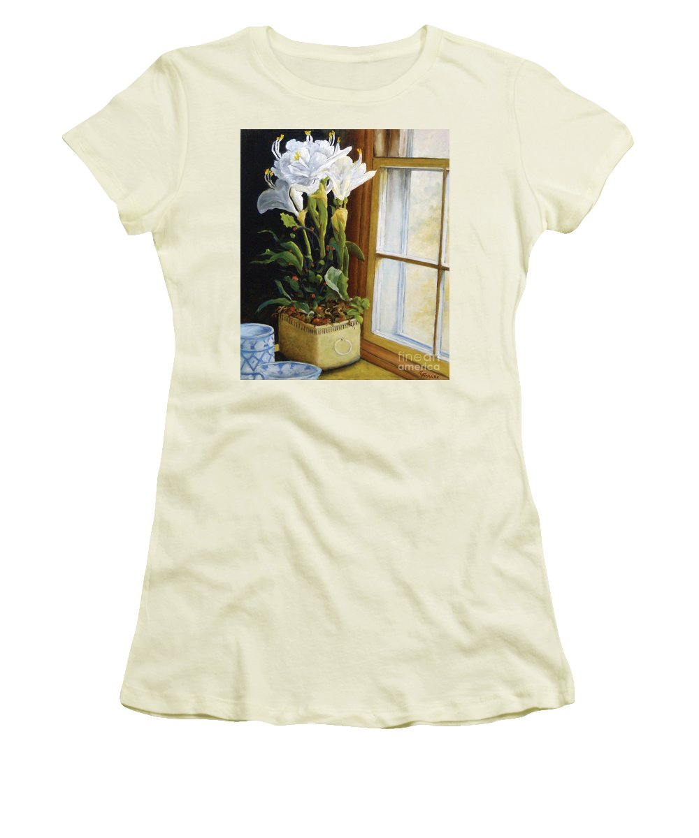 Art Women's T-Shirt (Athletic Fit) featuring the painting Lillies by Richard T Pranke