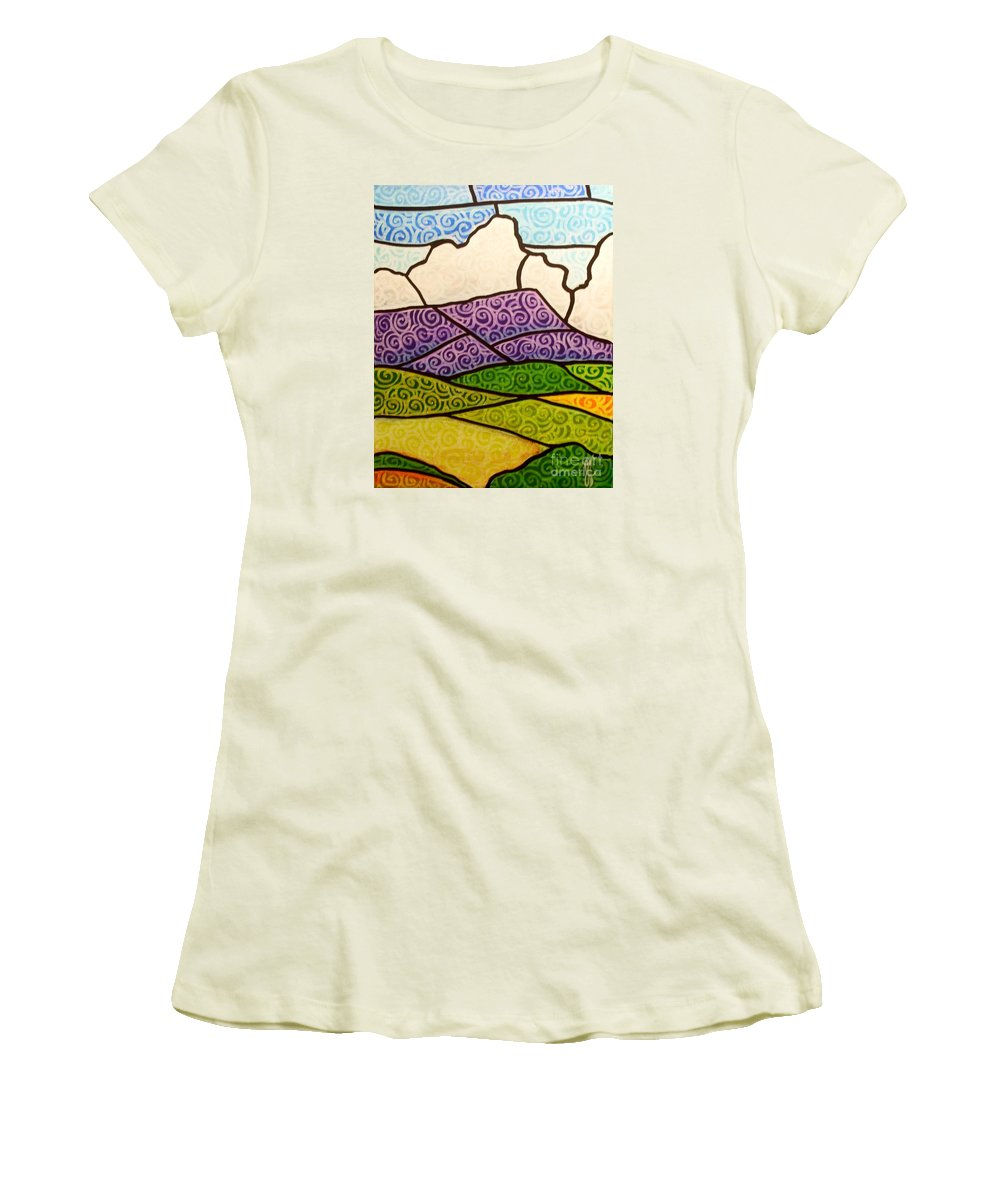 Mountians Women's T-Shirt (Athletic Fit) featuring the painting Massanutten Peak by Jim Harris