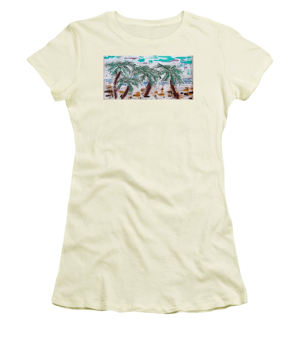 Palm Trees Women's T-Shirt (Junior Cut) featuring the painting Surf N Palms by J R Seymour