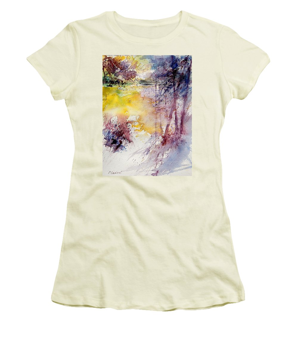 River Women's T-Shirt (Athletic Fit) featuring the painting Watercolor 040908 by Pol Ledent