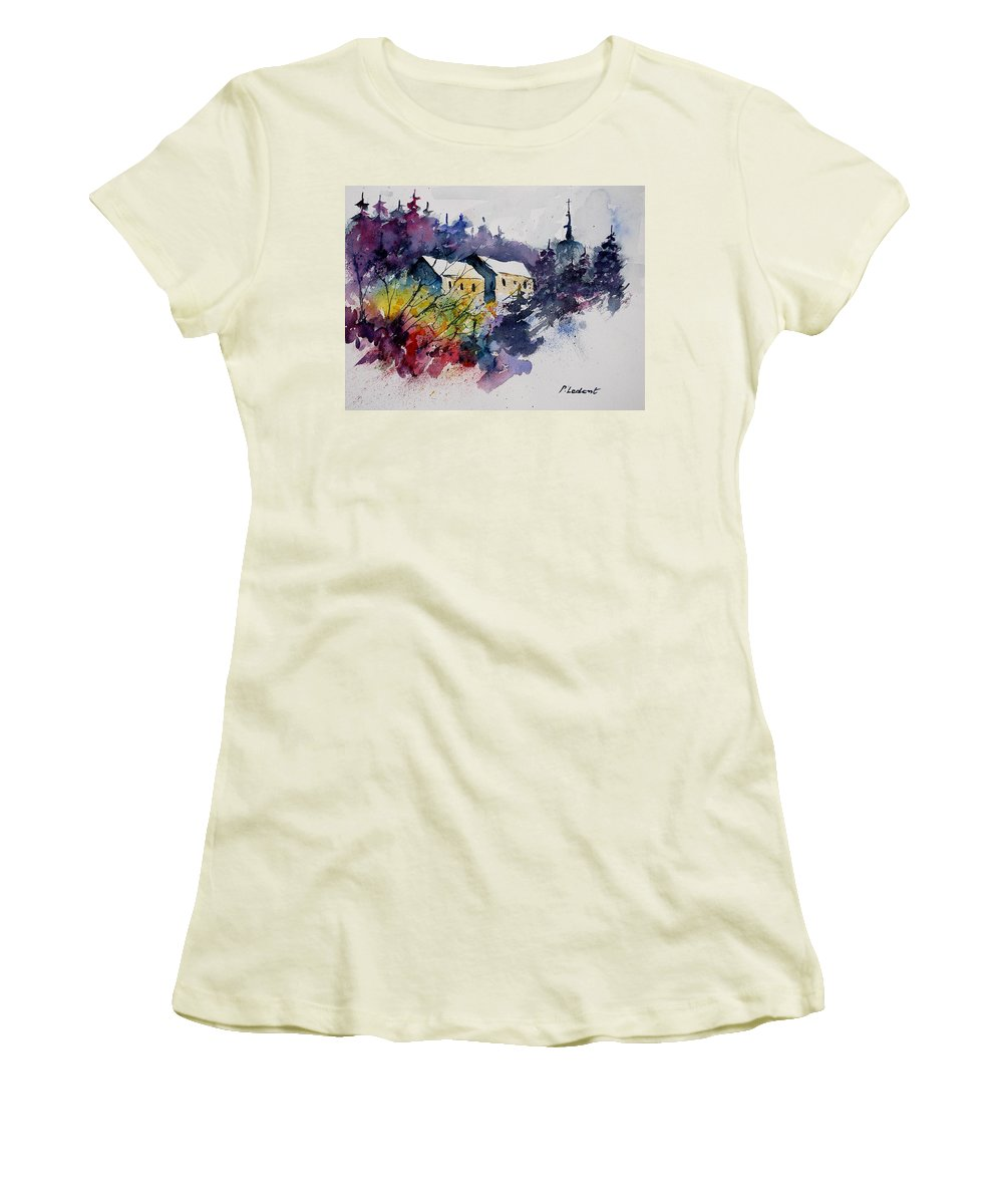 Winter Women's T-Shirt (Athletic Fit) featuring the painting Watercolor 231207 by Pol Ledent