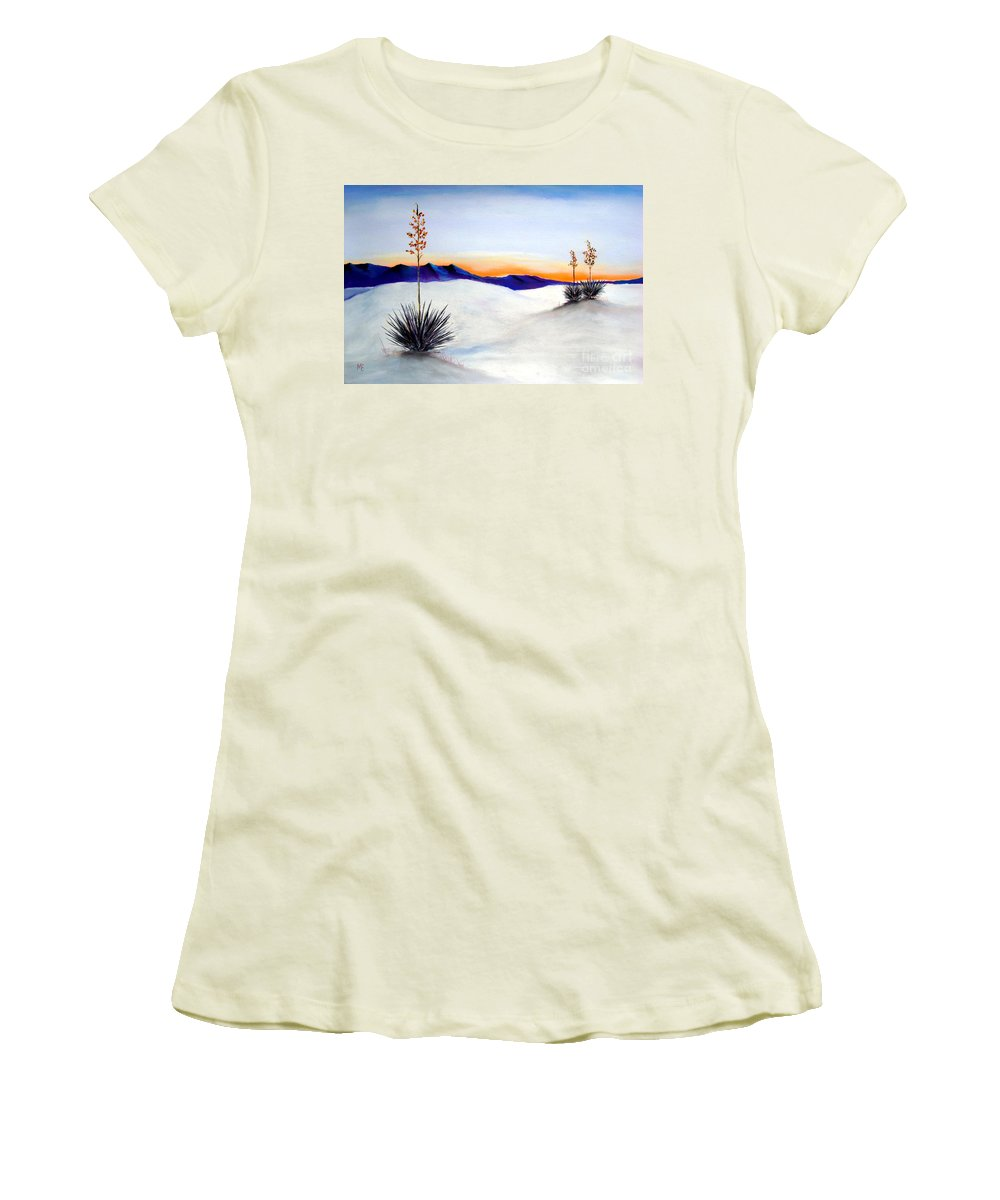 White Sands Women's T-Shirt (Athletic Fit) featuring the painting White Sands by Melinda Etzold