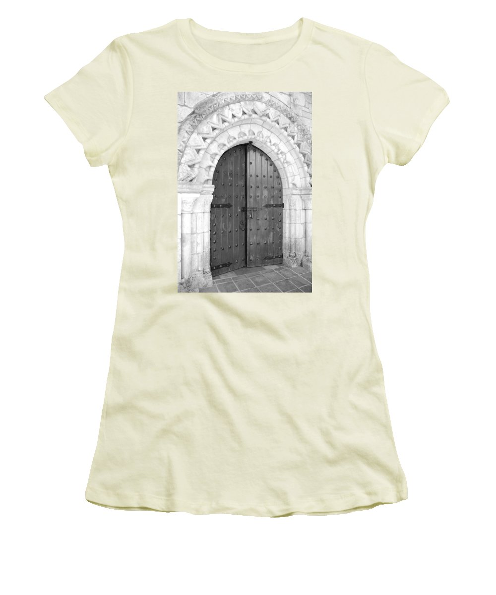 Wooden Doors Women's T-Shirt (Athletic Fit) featuring the photograph Miami Monastery by Rob Hans