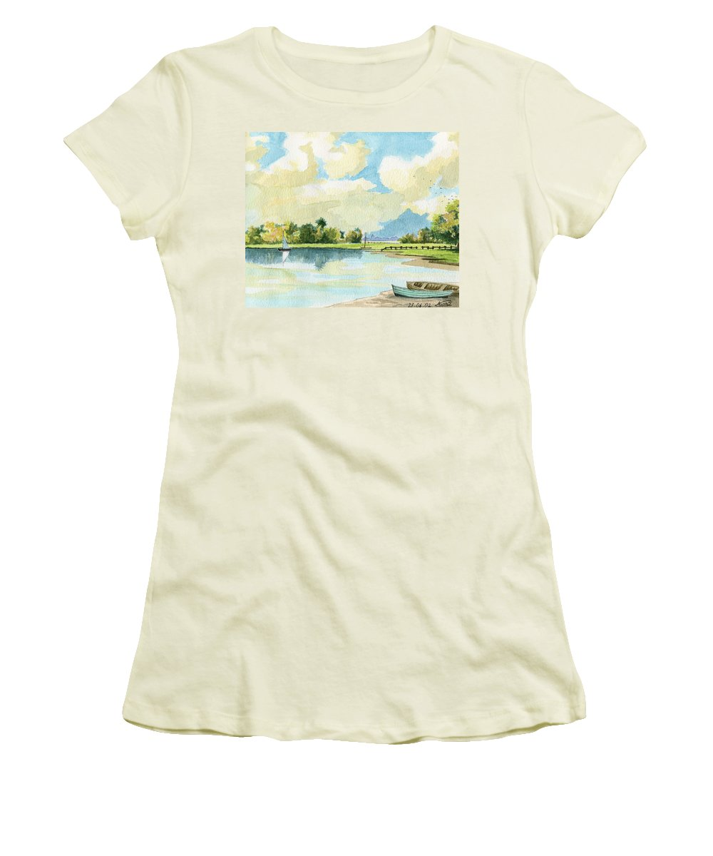 Lake Women's T-Shirt (Athletic Fit) featuring the painting Fishing Lake by Alban Dizdari